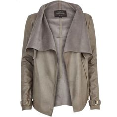 River Island Grey leather-look waterfall jacket (150 BRL) ❤ liked on Polyvore featuring outerwear, jackets, coats, coats & jackets, leather jackets, sale, faux leather zip jacket, gray jacket, gray faux leather jacket and grey zip jacket