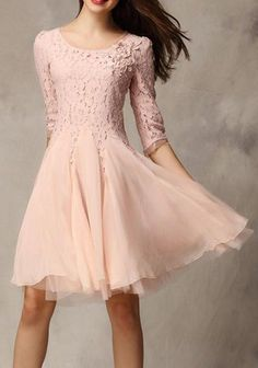 Pink Patchwork Ruffle 3/4 Sleeve Knee Length Lace Dress #lacedress #women #covetme