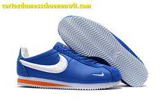 finest selection 97ba9 68228 Kopen Nike Classic Cortez Nylon Heren Loopschoenen Borduurwerk Blauw Wit  Oranje