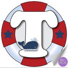 """Wall Letters """"T"""" Nautical Ocean Sailing Red White Blue Letter Stickers Alphabet Initial Vinyl Sticker Kid Decals Children Room Decor Baby Nursery Boys Bedroom Decorations Child Names Boat Whale Anchor Nautical Letters, Nautical Theme, Alphabet Stickers, Monogram Alphabet, Sailor Birthday, Baby Birthday, Letras Baby Shower, Personalised Frames, Nursery Decals"""