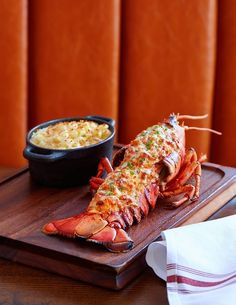 Lobster with a side of mac and cheese.