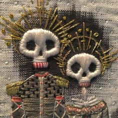 Beautiful handmade  Embroidery of The day of The dead tradition. SLVH ♥♥♥♥
