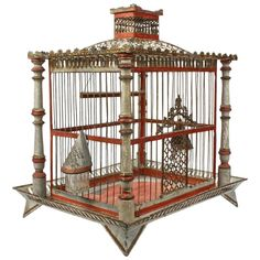 Century Painted Tole and Wood Bird Cage with Old Paint, The bird cage is equally a house for the birds and a pretty tool. You can choose what you may want on the list of bird cage versions and get a great deal more unique images. Pet Furniture, Painted Furniture, Bird Nest Craft, Bird Nests, Bird Cage Design, Antique Bird Cages, Homemade Bird Houses, Garage Sale Finds, Wood Bird