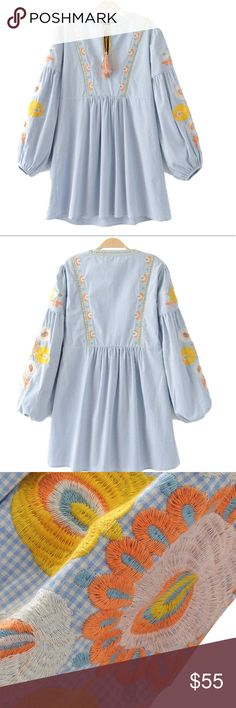 Zara women vintage flower embroidery dress Zara women vintage flower embroidery plaid pleated dress lantern sleeve V neck bow tie ladies summer casual dresses bust: 36.22, waist 34.65 length 24.79 it is labeled size M but it is much more better for S Dresses