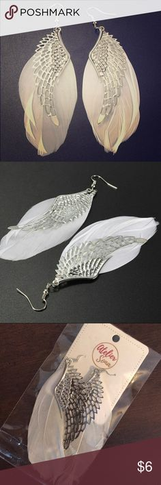 "Angel Wing Feather Earrings Angel wing earrings with white feather. New in package by Atelier Sona. Length approx. 3.5"". Atelier Sona Jewelry Earrings"