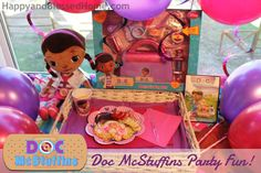Games and fun activities for a fun and memorable Doc McStuffins Party - free printables, playing doctor, dressing-up in costumes, hosting a post-slumber-party breakfast, games, and our very own homemade mobile clinic. HappyandBlessedHome