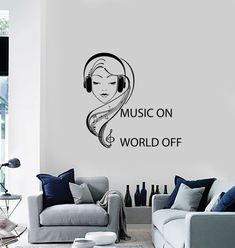 Wall Vinyl Decal Music On World Off Quote Teenage by BoldArtsy