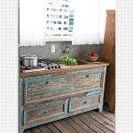 Decoração com Móveis Antigos - Pia de cozinha