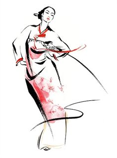 Illustration Ltd is proud to exclusively represent Katharine Asher, a leading fashion illustrator and animator based in Bristol. Please browse through Katharine's award-winning portfolio of figurative, traditional drawing style artwork. Korean Traditional Dress, Traditional Fashion, Traditional Art, Traditional Dresses, Korean Illustration, Dress Illustration, Fashion Illustration Sketches, Watercolor Illustration, Korean Art
