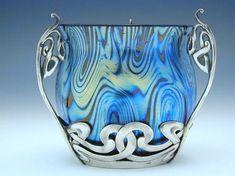 Loetz Art Nouveau irridescent glass vase with silver mount Country of Manufacture Austria Date Marks Austrian silver mark Antique Glass, Antique Art, Wassily Kandinsky, Belle Epoque, Cut Glass, Glass Art, Wine Glass, Vases, Modernisme