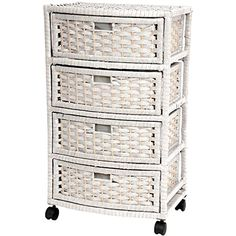 """Oriental Furniture 29"""" Natural Fiber Chest of Drawers - White"""