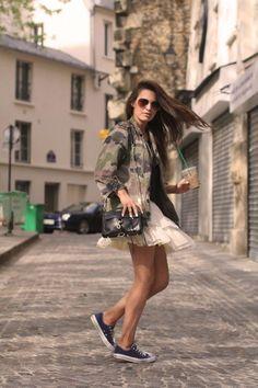ハードなイメージのカモフラ柄もチュールスカートのガーリーさでバランスをとって♡チュールプリーツスカートのコーデ♡スタイル・ファッションの参考に♪
