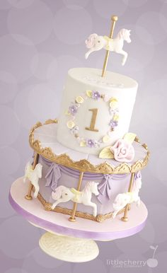 Pastel Carousel Cake - Cake by Little Cherry - CakesDecor