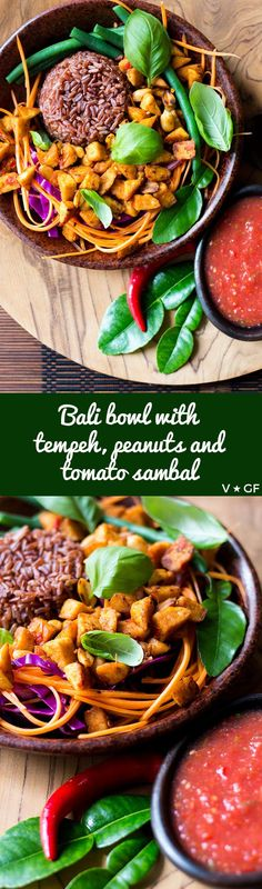 A healthy plant-powered bowl of red rice, salad and Balinese style fried tempeh and peanuts with a fresh tomato and chilli sambal.  via @quitegoodfood