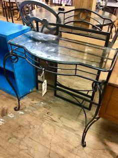 Black Metal Glass Top Entry Table With A Mirror. $35