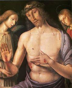 Giovanni Santi, Man of Sorrows or Christ supported by two angels (1490) Szépmûvészeti Múzeum, Budapeste  #art Via http://obelogue.blogspot.com.br/ e http://brontops.blogspot.com.br/2014/03/achados_31.html