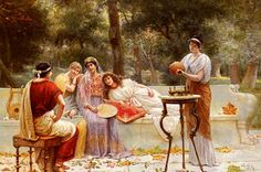 Garden in Painting Classical Figures In A Garden by A. Zoffoli