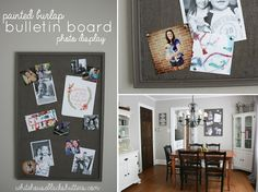 So smart!  a Painted burlap #bulletin board #photo display via @whbsblog - Love the color too!
