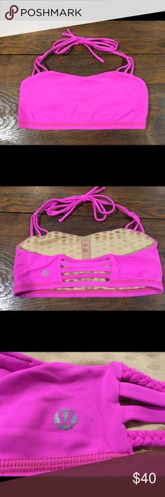 Lululemon Alight bra halter, size 6 Lululemon Alight halter bra, size 6. Bright pink - the last pic is just to show the style on. Great condition. There are no pad inserts. lululemon athletica Tops