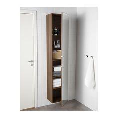 GODMORGON High cabinet with mirror door, walnut effect walnut effect 40x32x192 cm