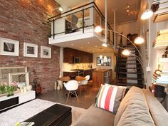 Interior brick wall with high ceiling