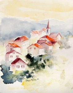 Clizett *'s media content and analytics Watercolor Paintings For Beginners, Watercolor Pictures, Watercolor Projects, Watercolor Landscape Paintings, Watercolor Artwork, Watercolor Cards, Watercolor Flowers, Watercolor Sketchbook, Watercolor Illustration