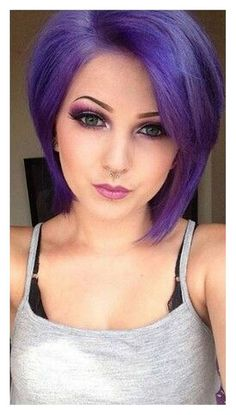 Cute Purple Hair Color for Short Hair