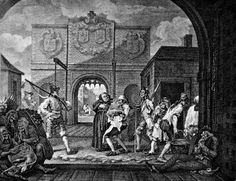 hogarth__the_gate_of_calais.jpg (600×461)Tacked to walls -- and thoroughly discussed in all the coffeehouses -- were the prints of William Hogarth, who depicted with wit and irony all the glories and shames of London.