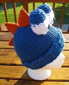 Blue dino hat loom knitting pattern