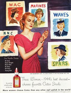 WW2 era Cutex nail polish ad 1940s