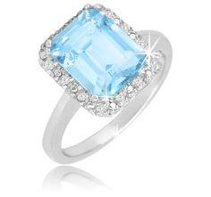 White Gold Emerald-Cut Blue Topaz and #Diamonds Engagement Ring. http://jangmijewelry.com/