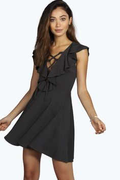 14 euro! Pam Textured Lace Up Frill Detail Skater Dress