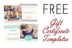 Free Gift Certificate Photoshop Templates!  Follow my Boards for Photography Inspiration and more FREEBIES at www.pinterest.com/lrtemplates