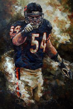 Brian Urlacher by Bob Mueller - pinnervor Nfl Bears, Bears Football, Football Art, Football Memes, Chicago Bears Wallpaper, Football Wallpaper, Nfl Sports, Sports Art, Sports Teams