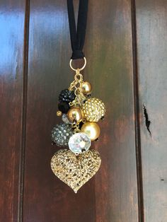 Rear View Mirror Charms, rearview mirror decor, rear view mirror accessories, Car Decorations, Car Accessories for Women, Gold and Black, Ornate filigree heart pendant, Charm Cluster, Hanging Car Charm, Cute car decor for women, Beaded car charm, Keychain, Chunky Charms, TheBadaBling