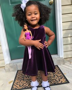 Mia Isabella - 2 years ❤ Gorgeous baby girl clutching tightly to her Barbie doll in a stunning purple velvet dress (17 Nov 2015)