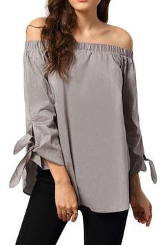 Off The Shoulder Lace Up Ruffle Blouse