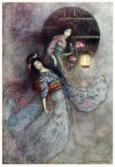The peony lantern. Warwick Goble, from Green Willow and other Japanese fairy…