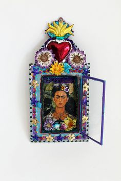 Absolutely gorgeous Mexican tin nicho painted in bright vibrant colors and Frida Kahlo themed! This nicho is a beautiful shape which I have Frida Art, Atelier D Art, Matchbox Art, Mexico Art, Tin Art, Diego Rivera, Assemblage Art, Mexican Folk Art, Sacred Heart