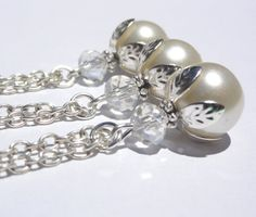 1 Necklace Bridesmaid Necklace White Pearl by StunningGemsJewelry