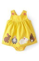Mini Boden Appliqué Button Strap Dress (Baby Girls)