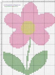 Flor rosada - Punto de cruz | Dibujos Punto de Cruz Gratis