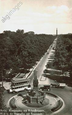 BERLIN 1932, Kemperplatz mit Rolandbrunnen. Blick in die Siegesallee mit Siegessäule