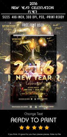 New Year Flyer  Flyer Template Party Flyer And Font Logo