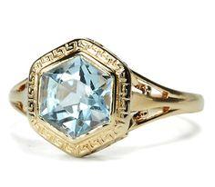 Art Deco Aquamarine Set Vintage Ring - The Three Graces