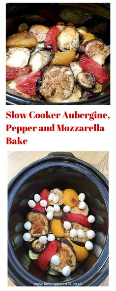 Slow Cooker Aubergine, Pepper and Mozzarella Bake - BakingQueen74