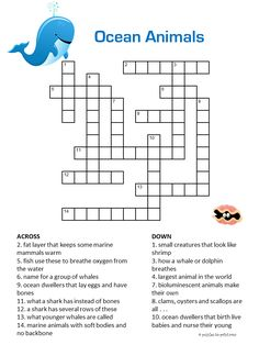 Printable Ocean Animals Crossword Puzzles for Kids Free Printable Crossword Puzzles, Printable Puzzles For Kids, Word Puzzles For Kids, Number Puzzles, Party Mottos, English Worksheets For Kids, Animals For Kids, Activities For Kids, Printables