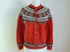 Vintage 50's Sweater Hand Knit Cardigan Wool by FrontPageVintage, $62.00
