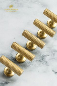 The Sparkbrook brass hardware collection features a machined diamond knurl to give each solid brass cabinet handle its distinctive look. Beautifully paired with modern spaces, this industrial style collection features a t-bar, knob and two types of pull handle to enhance cabinet doors and drawers. Choose matt black to make a statement or satin brass for a touch of luxury, available in over 20 signature finishes. Brass Cabinet Hardware, Kitchen Cabinet Hardware, Brass Handles, Cabinet Doors, Brass Kitchen, Modern Spaces, Modern Kitchen Design, Knobs And Pulls, Rustic Style