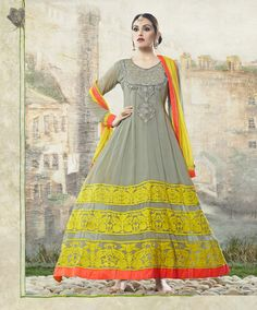 grey shaded full length long anarkali suit